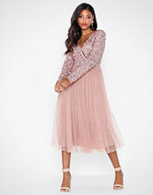Maya Deluxe Wrap Front Midi Dress