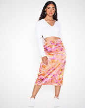 Missguided Tie Dye Satin Slip Skirt