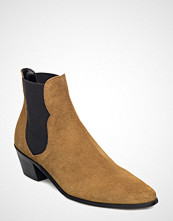 Mango Elastic Panels Leather Ankle Boots