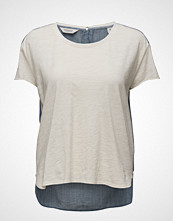Maison Scotch S/S Jersey Tee With Woven Back Panel And Zip At Cb