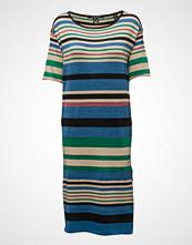 Maison Scotch Midi Length Knit Dress In Bold Lurex Stripe