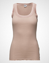 Saint Tropez O-N Rib Top W Wide Straps T-shirts & Tops Sleeveless Rosa Saint Tropez