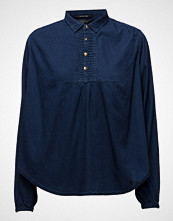 Scotch & Soda Sheer Cotton Indigo Top With Special Detailing