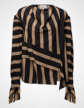3.1 Phillip Lim Ls Striped Draped Neck Top