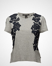 Scotch & Soda Short Sleeve Boxy Fit Tee With Lace Appliqué