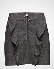 Mango Check Pattern Ruffled Skirt