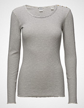 Scotch & Soda Long Sleeve Rib Tee With Shoulder Closure