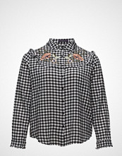 Violeta by Mango Floral Ebroidery Gingham Blouse