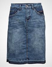 Cream Patched Denim Skirt