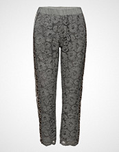 Coster Copenhagen Pants W. Lace And Leopard Stribe Bukser Med Rette Ben Grå COSTER COPENHAGEN