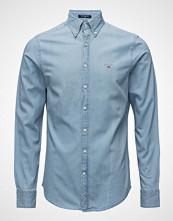 Gant D1. Tp Pique Solid Slim Bd Skjorte Business Hvit GANT