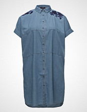 Violeta by Mango Embroidered Denim Dress