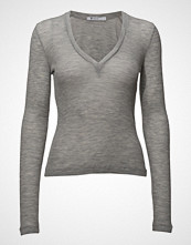 T by Alexander Wang Sheer Wooly Rib Deep V-Neck L/S Top