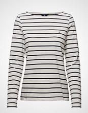 Gant Breton Stripe Boatneck Jumper T-shirts & Tops Long-sleeved Hvit GANT