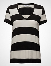 Mango V-Neck Striped T-Shirt