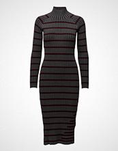 T by Alexander Wang Fitted Rib W/ Stripe Intarsia L/S Turtleneck Dress