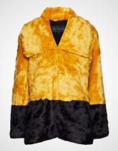 French Connection Sebille Faux Fur Clrblock Coat Frakk Jakke Gul FRENCH CONNECTION