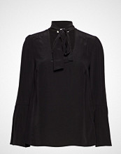 Michael Kors Bell Slv Silk Top Bluse Langermet Svart MICHAEL KORS