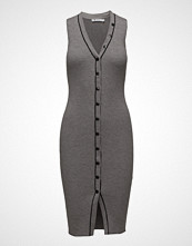 T by Alexander Wang Skinny Rib Sleeveless Dress W/ Snap Detail