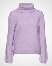 Saint Tropez Cowl Neck Knit Sweater Høyhalset Pologenser Lilla SAINT TROPEZ