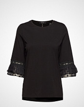 Scotch & Soda Jersey Top With Lace And Pleated Sleeves