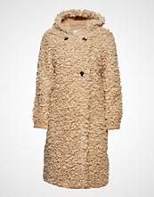 Mango Faux Shearling Hooded Coat