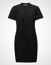 T by Alexander Wang Soft French Terry S/S Dress W/ Asymmetric Drape