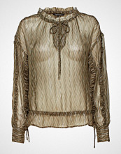 Scotch & Soda Sheer Printed Top With Lurex And Ruffle Details At Sleeves