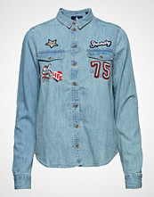 Superdry Over D Badged Denim Shirt Langermet Skjorte Blå SUPERDRY