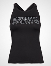 Superdry Sport Active Fitted Vest T-shirts & Tops Sleeveless Svart SUPERDRY SPORT