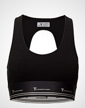 T by Alexander Wang Compact Rib Cutout Crop Top W/ T Logo Elastic T-shirts & Tops Sleeveless Svart T BY ALEXANDER WANG