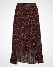 Coster Copenhagen Skirt In Seeds Print W. Tie And Ruf Knelangt Skjørt Brun COSTER COPENHAGEN