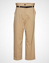 3.1 Phillip Lim Paper Bag Wool Cropped Pant W Leather Belt Bukser Med Rette Ben Beige 3.1 PHILLIP LIM
