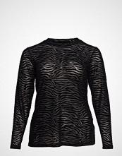 Zizzi Mmarie, L/S, Mesh Top T-shirts & Tops Long-sleeved Svart ZIZZI
