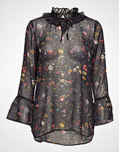 Coster Copenhagen Top In Botanical Print W. Ruffle Neck And Volant Sleeves