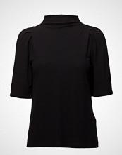Filippa K Cotton Crepe Pleat Top Bluse Kortermet Svart FILIPPA K