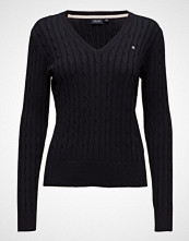 Park Lane Cable V-Neck Pullover Strikket Genser Blå PARK LANE