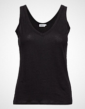 Filippa K Deep V-Neck Linen Tank T-shirts & Tops Sleeveless Svart FILIPPA K