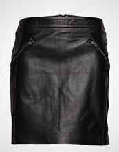 Violeta by Mango Zipped Leather Skirt Kort Skjørt Svart VIOLETA BY MANGO