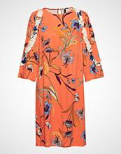 Pulz Jeans Pzsigne 3/4 Sl. Dress Aop Knelang Kjole Oransje PULZ JEANS