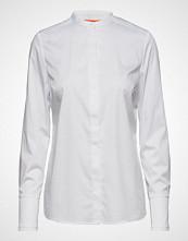 Coster Copenhagen Feminine Fit Shirt W. Plisse Grosgr Langermet Skjorte Hvit COSTER COPENHAGEN