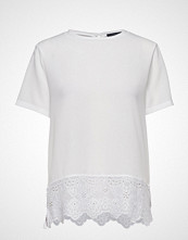 French Connection Crepe Light Solid Jersey Lace Trim Tee