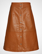 Just Female Alfa Leather Skirt Knelangt Skjørt Oransje JUST FEMALE