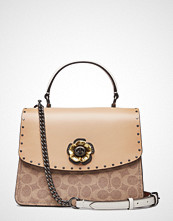 Coach Coated Canvas Signature With Border Rivets Parker Top Handle