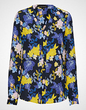 Banana Republic Ls High Low Pieced Vee Floral Graphic
