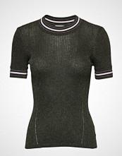 Scotch & Soda Short Sleeve Lurex Knit With Striped Ribs T-shirts & Tops Short-sleeved Grønn SCOTCH & SODA