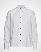 Ganni Plain Cotton Poplin Langermet Skjorte Hvit GANNI
