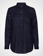 GAP Bf Shrt Lin Solid Langermet Skjorte Blå GAP