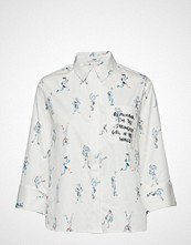 IBEN Kian Shirt Print Langermet Skjorte Hvit IBEN