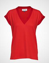 Denim Hunter Dhfernanda Tee Rib Jersey T-shirts & Tops Short-sleeved Rød DENIM HUNTER